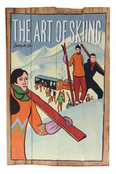 "Handbemaltes Schild ""The art of skiing"""