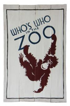 "SALE - Holzschild-Retro ""Who is who in the Zoo"""