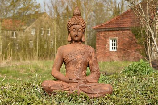 Buddhafigur in Rostmetall-Look, 75 cm H
