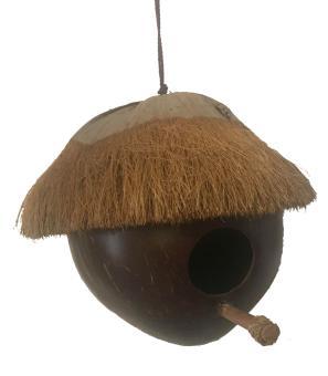 Vogelhaus aus einer Kokosnuss, Loch 42 mm