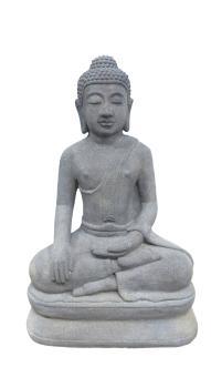 Yogi aus Lavaguss, 60 cm Formstein, antik Finish