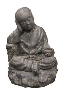 Sitzender Mönch mit Schale, 43 cm