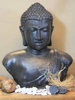 Buddha-Büste, Steinguss, 55 cm