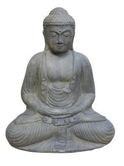 Sitzender Buddha, japanisch, Steinguss, 52 cm