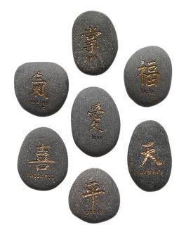 Luckystone, chin. Zeichen, grau/gold, 8 cm