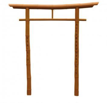 Japanisches Torii, Größe M, naturgelb, mehrteilig, mit Bambusfüßen
