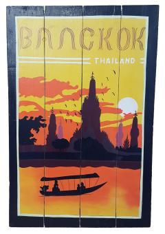 Handbemaltes Holz Schild - Retro 'Bangkok'' 60x40x2  cm