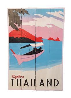 Handbemaltes Holz Schild - Retro ''Explore Thailand'' 60x40x2  cm