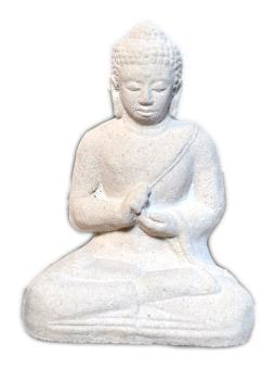 Sitzender Buddha, indisch, 13 cm, creme