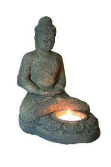 Sitzender Buddha mit Teelicht, 18 cm, olive