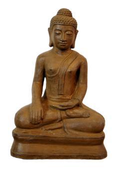 Sitzender Buddha, 30 cm H, braun