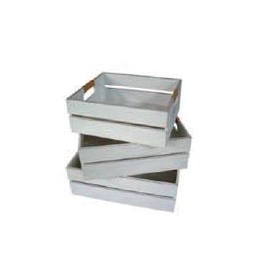 Set ,3 Boxen offen MDF, in weiß lackiert L-37x31x12, 5, M-33, 5x29x12, S-30x26x11cm
