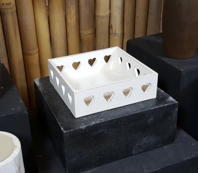 """Box/hohes Tablett """"Herz"""" aus MDF, 18 cm"""