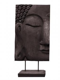Buddhagesicht, links, Nadelholz, braun, 41 cm