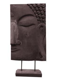 Buddhagesicht, rechts, Nadelholz, braun, 41 cm