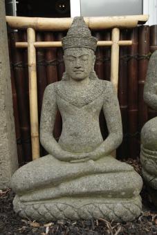 Sitzender Buddha, im Khmer-Stil, 90 cm, Naturstein