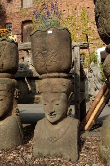 Lady-Kopf mit Schale, 120 cm, antikfinish