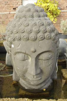 Buddhakopf in Bröckeloptik, Wasserspiel, 115 cm H