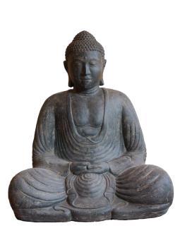 Sitzender Buddha, japanisch, Steinguss, 80 cm, leicht