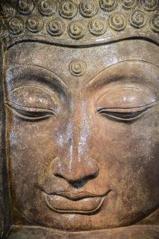Buddha-Kopf-Relief mit Sockel als Wasserspiel, 155 cm