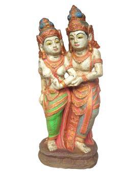 Götterpaar stehend 60 cm, Steinguss bemalt