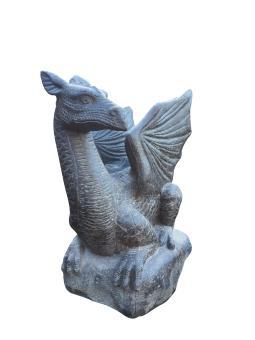 Sitzender Drache auf Stein, ca. 65 cm