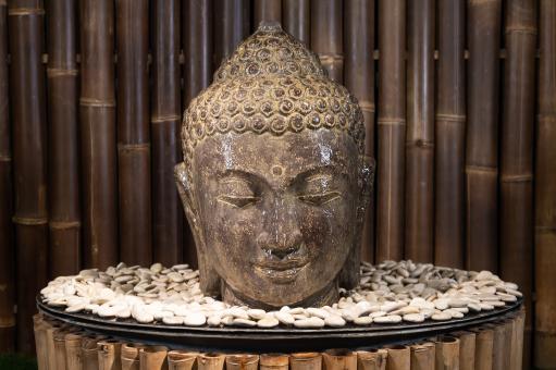 Buddha-Kopf als Wasserspiel, 30 cm