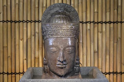 Khmer-Kopf mit Sockel, Wasserspiel, ca. 85 cm
