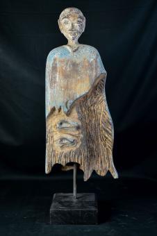 Antiker Mönch, Statue aus Holz, handbemalt