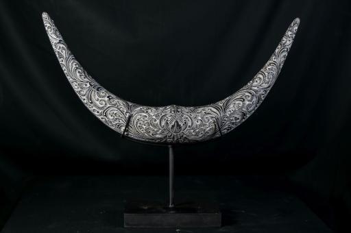 Graviertes Horn aus Kokosnuss, einzeln, handbemalt