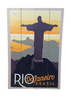 Handbemaltes Holz Schild - Retro ''Rio De Janeiro'' 60x40x2  cm