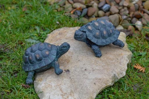 Schildkröten, 2er-Set, Bronzeoptik, 12 cm