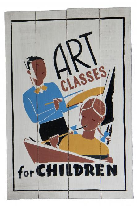 "SALE - Handbemaltes Schild ""Art classes for child"""