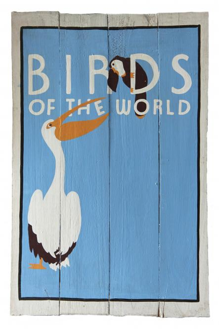 "Handbemaltes Schild ""Birds of the World"""