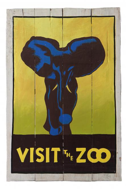 "Handbemaltes Schild ""Visit the Zoo - Elephant"""
