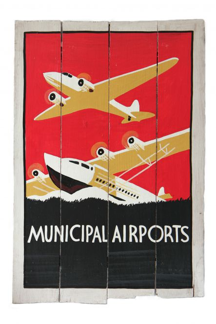 "SALE - Holzschild-Retro ""Municipal Airport"""