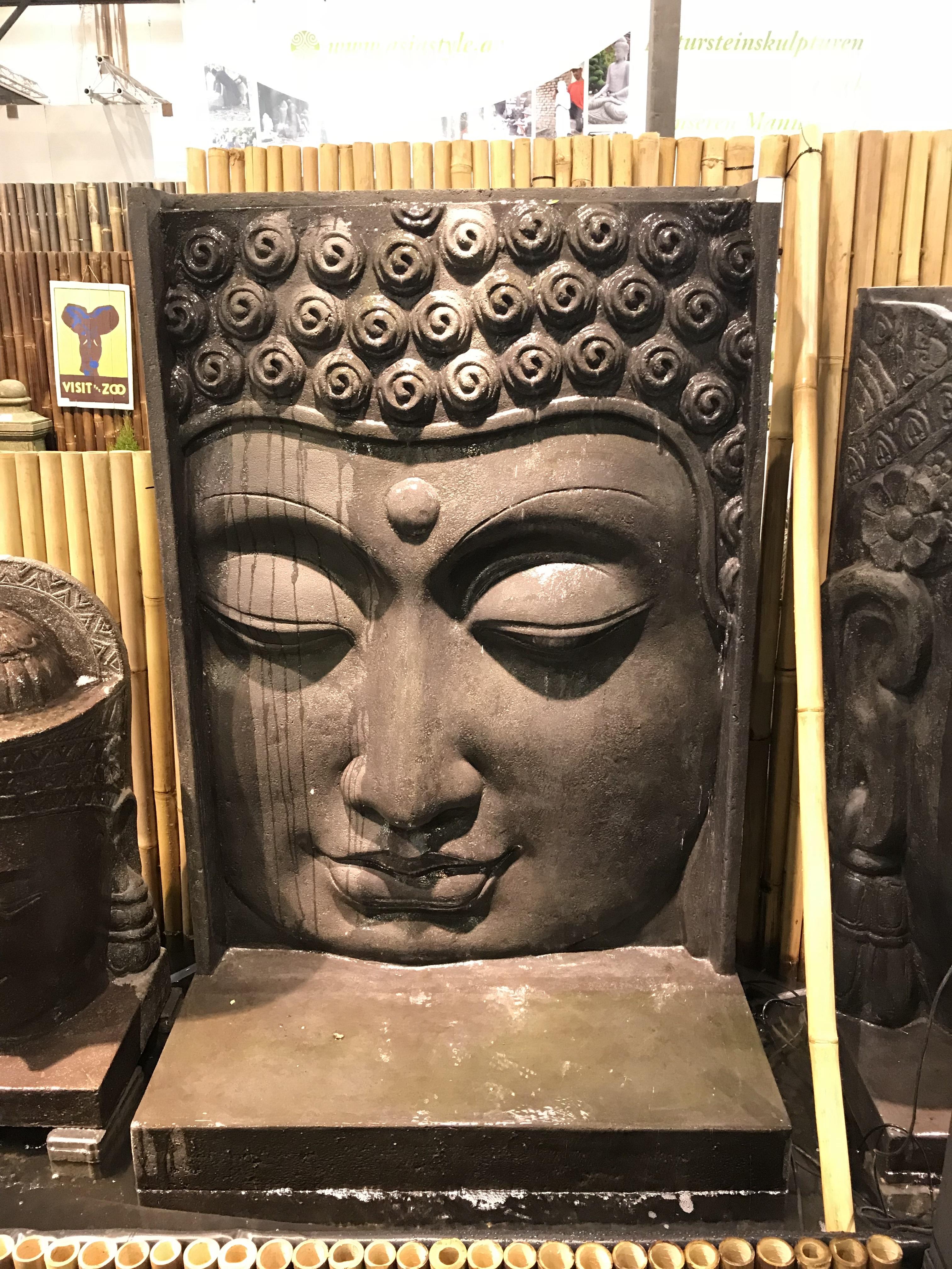 asiastyle buddha kopf relief als wasserspiel komplett set ca 170 cm h he. Black Bedroom Furniture Sets. Home Design Ideas